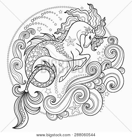 Beautiful Sea Unicorn Surrounded By Waves. Hippocampus. Hand-drawn Ink Pen Vector Illustration. Tatt