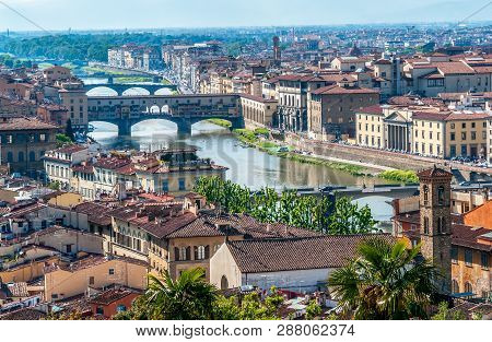 Florence cityscape with view over Arno river and bridge Ponte Vecchio - Florence, Tuscany, Italy poster