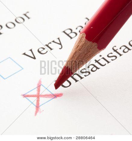 test questionnaire check boxes, extreme closeup photo