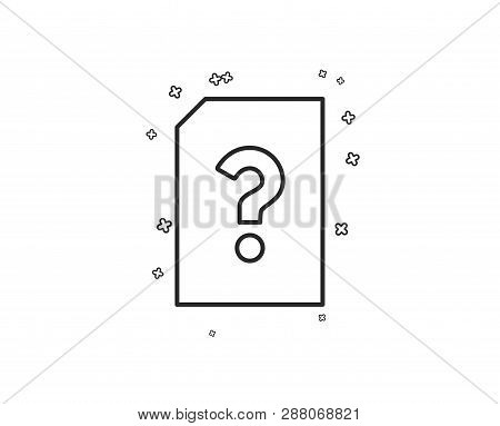 Unknown Document Line Icon. File With Question Mark Sign. Untitled Paper Page Concept Symbol. Geomet