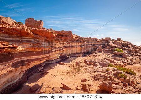 Layers Of Sediment Rock In Different Tones At Kalbarri National Park