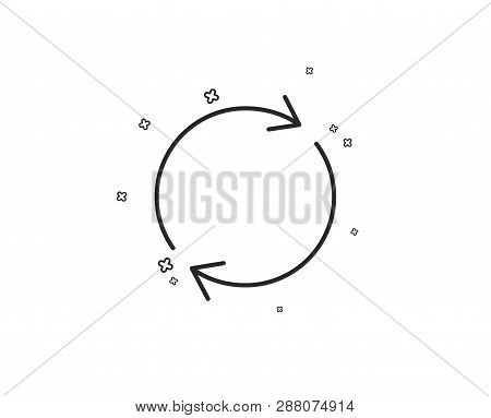 Refresh line icon. Rotation arrow sign. Reset or Reload symbol. Geometric shapes. Random cross elements. Linear Full rotation icon design. Vector poster