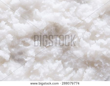 Background And Texture Of White Desiccated Coconut Flake