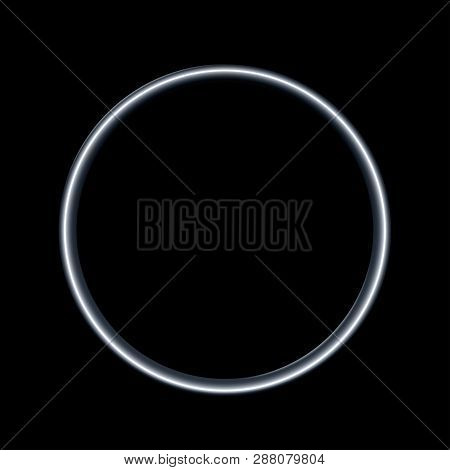 Steel Metal Ring Isolated On Black Background. Vector Empty Frame