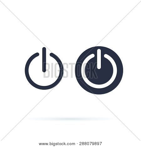 Power Icon. Power Switch Icon. Shut Down, Switch On Or Off Symbol. Line And Solid Icons. Web Round B