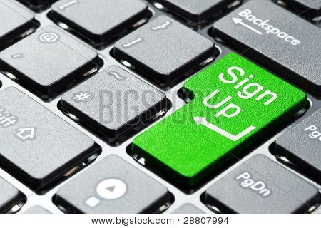 Sign up button on computer keyboard