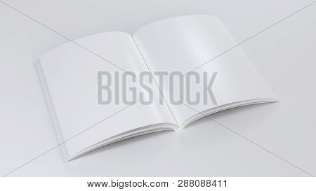 Magazine Clear Mockup. 3d Render Illustration. Open Notepad With Realistic Light And Shadow On Page.