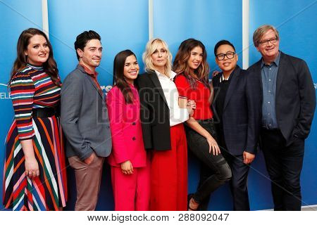 LOS ANGELES - MAR 5: Lauren Ash, Ben Feldman, America Ferrera, Judith Light, Mark McKinney, Nichole Bloom, Nico Santos at Universal Studios on 5 March, 2019 in Los Angeles, CA