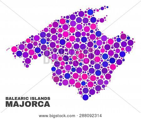 Mosaic Majorca Map Isolated On A White Background. Vector Geographic Abstraction In Pink And Violet