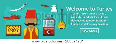 Welcome To Turkey Banner Horizontal Concept. Flat Illustration Of Welcome To Turkey Banner Horizonta
