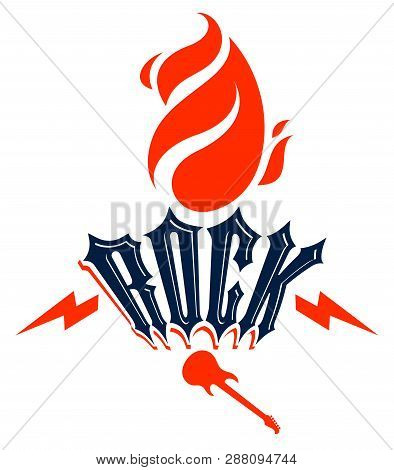 Flames Lightning Bolt And Typing Rock Vector Emblem Or Logo, Rock And Roll, Hard Rock, Punk And Heav