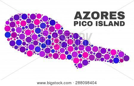 Mosaic Pico Island Map Isolated On A White Background. Vector Geographic Abstraction In Pink And Vio