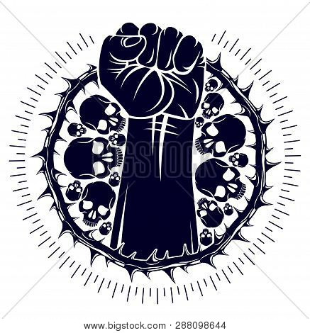 Slavery theme illustration with strong hand clenched fist fighting for freedom against blackthorn thorn, vector logo or tattoo, through the thorns to the stars concept. poster
