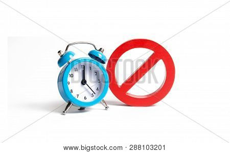 No Sign And Blue Clock On An Isolated Background. Unavailability At Certain Hours. Temporary Restric