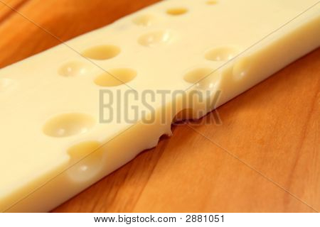 Emmental Cheese On Wooden Board, Shallow Dof