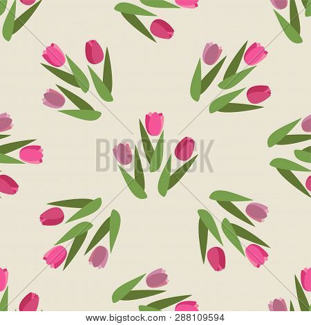 Vector Romantic Hand Drawn Background With Tulips. Vintage Seamless Pattern Tulips