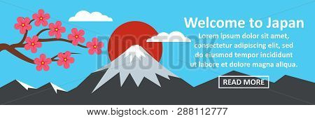 Welcome To Japan Banner Horizontal Concept. Flat Illustration Of Welcome To Japan Banner Horizontal