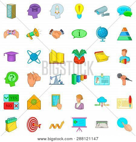 Congress Icons Set. Cartoon Style Of 36 Congress Icons For Web Isolated On White Background