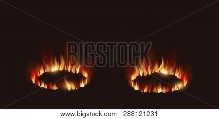 Vector Isolated Illustration Of Versus Screen With Fire Flames And Vs For Duel. Fire Transparent. Ro