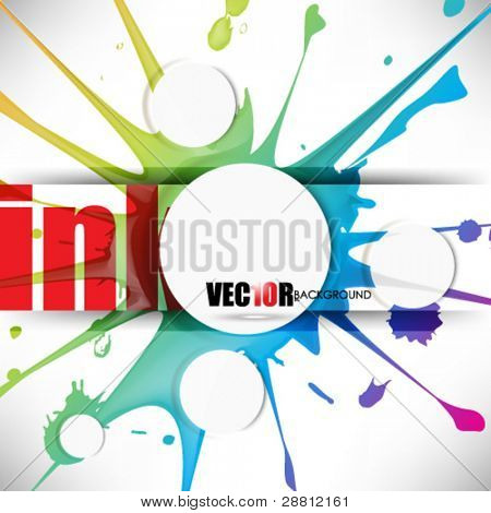 eps10 vector multicolor splattered ink with round buttons illustration