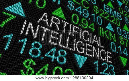 Artificial Intelligence AI Technology Stock Market Ticker 3d Illustration poster
