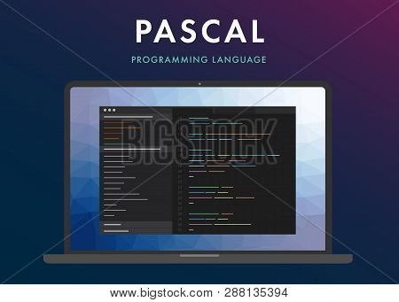 Pascal Programming Language. Learning Concept On The Laptop Screen Code Programming. Command Line In