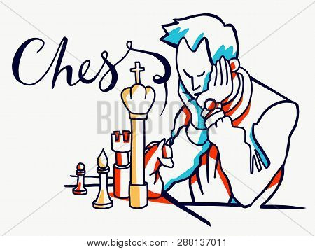 Colored Chess Players Sitting With Chess Figures Vector Illustration In Engraved Style Isolated On W