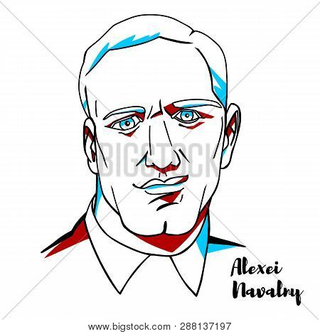 China, Chenghai - February, 27, 2019: Alexei Navalny Engraved Vector Portrait With Ink Contours. Rus