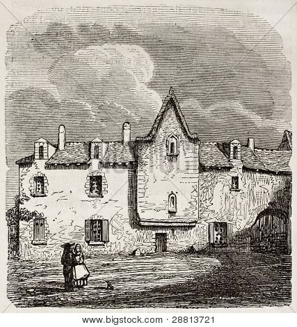 The house were Rene Descartes was born, Le Haye en Tourene. Created by Frere, published on Magasin Pittoresque, Paris, 1845