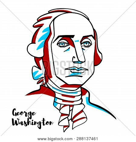 China, Chenghai - February, 7, 2019: George Washington Engraved Vector Portrait With Ink Contours. A