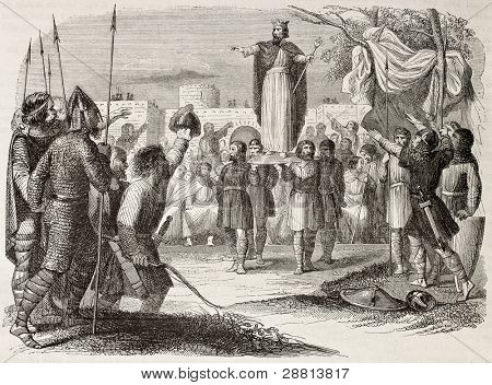 King on shield old illustration (antique Franc tradition of sovereignty election). By unidentified author, published on Magasin Pittoresque, Paris, 1845