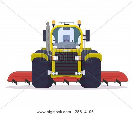 Front View Of Tractor For Farming With Cultivator. Flat Style Vector Illustration. Agriculture Vehic