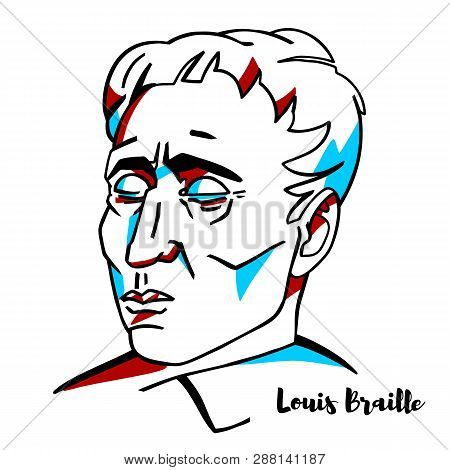 Louis Braille Engraved Vector Portrait With Ink Contours. French Educator And Inventor Of A System O