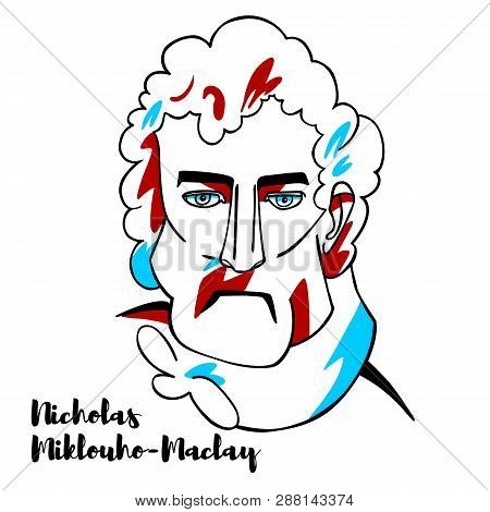 Nicholas Miklouho-maclay Engraved Vector Portrait With Ink Contours. Russian Explorer, Ethnologist,