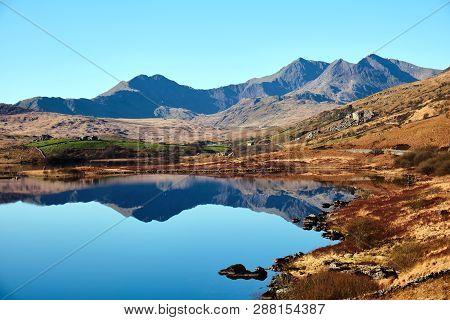 Mount Snowdon And Llynnau Lake In Snowdonia National Park, Wales
