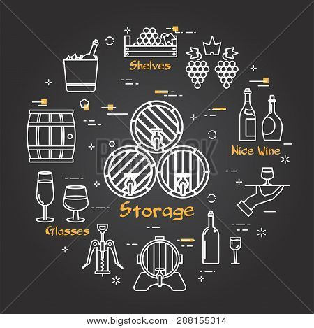 Vector Linear Round Web Banner Of Viticulture, Winemaking And Storage. Outline White Icons Are Arran