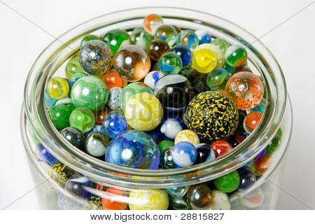 Jar of many colored marbles