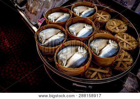 Steamed Tuna In The Wood Basket Inside The Pot, Thailand Seafood