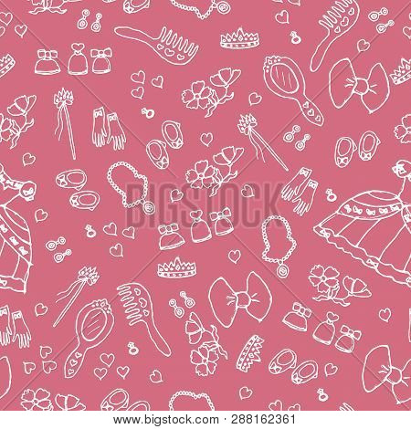 Princess Birthday Party For Little Girls. Kindergarten, School Children Picture. Seamless Pattern