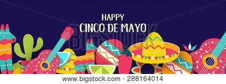 Cinco De Mayo Mexican Festive Banner. Horizontal Card Of Mexican Culture Symbols Collection: Maracas