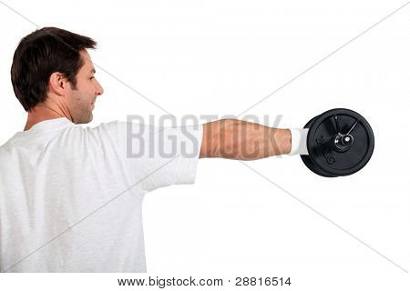 Man using hand weights