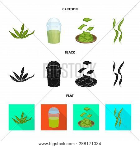 Vector design of protein and sea symbol. Set of protein and natural stock symbol for web. poster