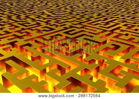 Three-dimensional Infinite Golden Labyrinth Illuminated From The Inside. Perspective View Of The Lab