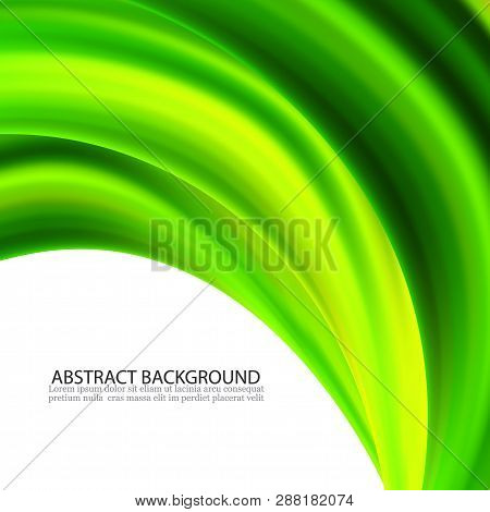 Abstract Vector Green Wavy Lines. Colorful Vector Green Wave Background. For Brochure, Website Desig