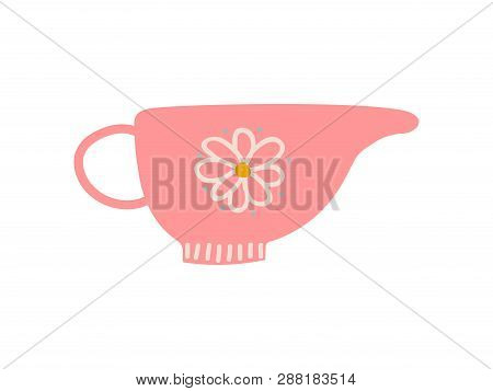 Creamer, Milk Jug, Cute Ceramic Crockery Vector Illustration poster