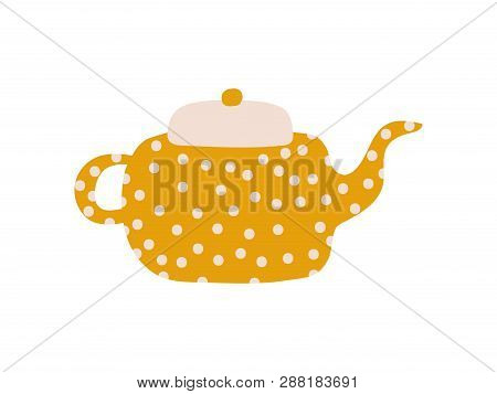 Cute Polka Dot Teapot With Spout, Ceramic Crockery Vector Illustration