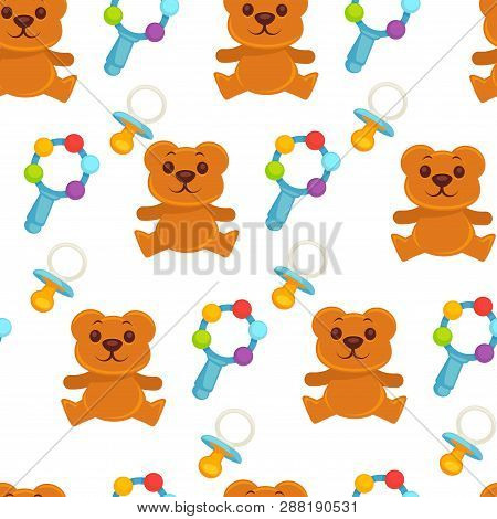 Baby Newborn Kid And Pram Perambulator Seamless Pattern Vector.