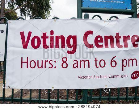 Melbourne, Australia - November 19, 2017: Votering Centre In The 2018 Victorian State Election, Loca