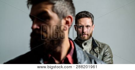 Masculinity And Brutal Appearance. Male Hair Care Tips. Barbershop Concept. Men Handsome With Beard
