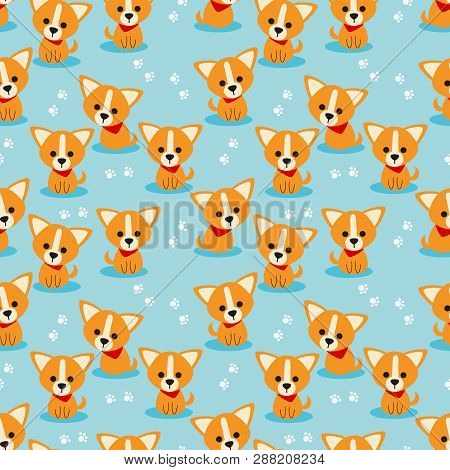 Cute Puppy Seamless Pattern. Cute Character Brown Dog.
